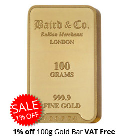 100g Gold Bar 1% Off