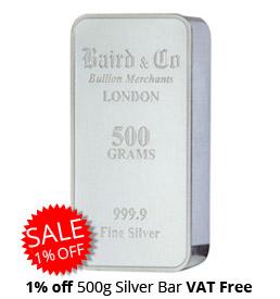 500g Silver Bar 1% Off