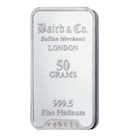Investment Grade 50gram Platinum Bar