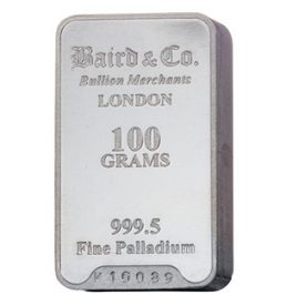 100 Gram Palladium Bullion Bar